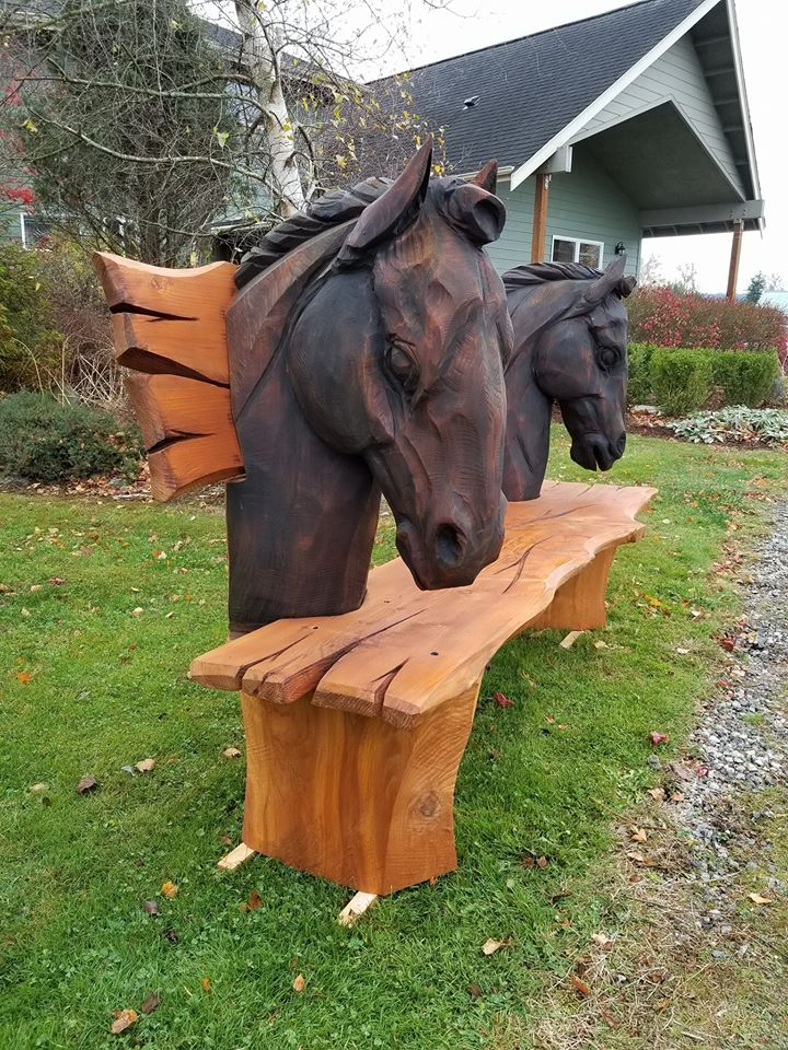 Chainsaw carving horse bench for sale tomas vrba studio