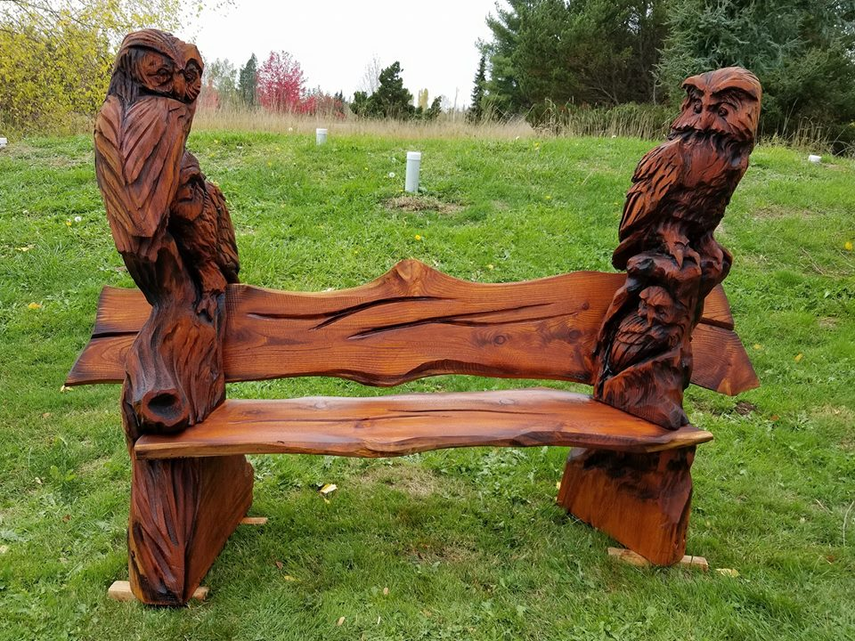 Chainsaw carved horned owl black walnut wood carvings sculptures