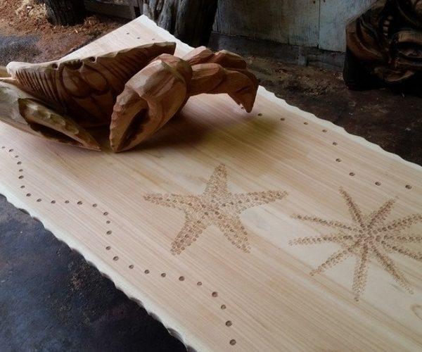 wood sculpture bench