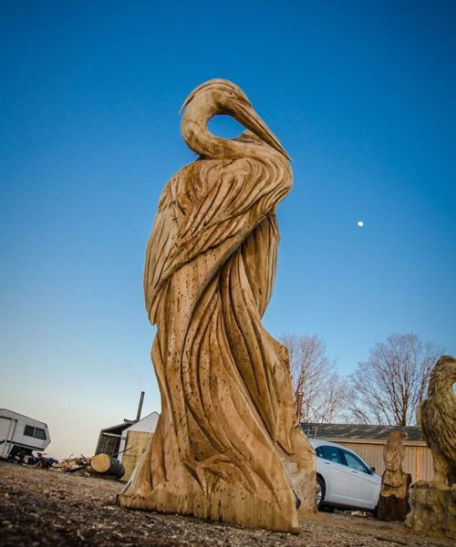 wood sculpture heron
