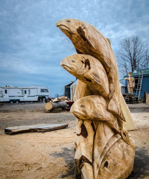 chainsaw carving fish